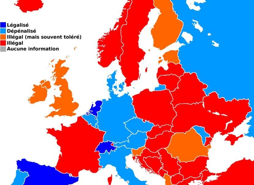 la carte sur la législation européenne en matière de cannabis médical (2006)