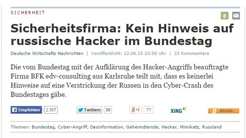 Aucune preuve de la présence de hackers russes au Bundestag