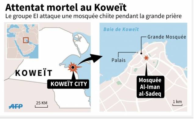 Le lieu de l'attentat à Koweït City (Capture d'écran AFP)