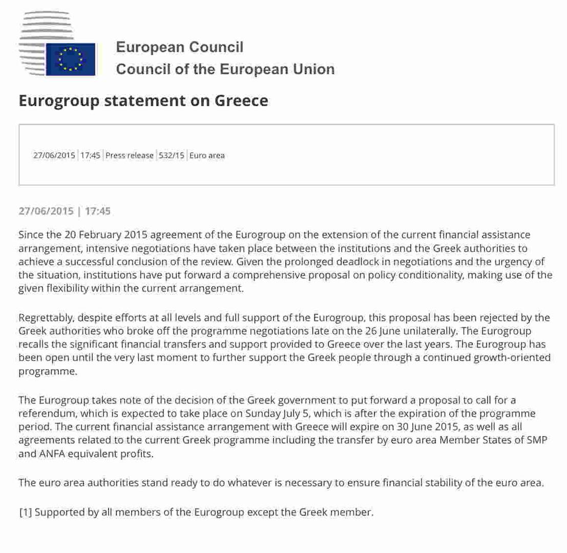 Communiqué de l'Eurogroup