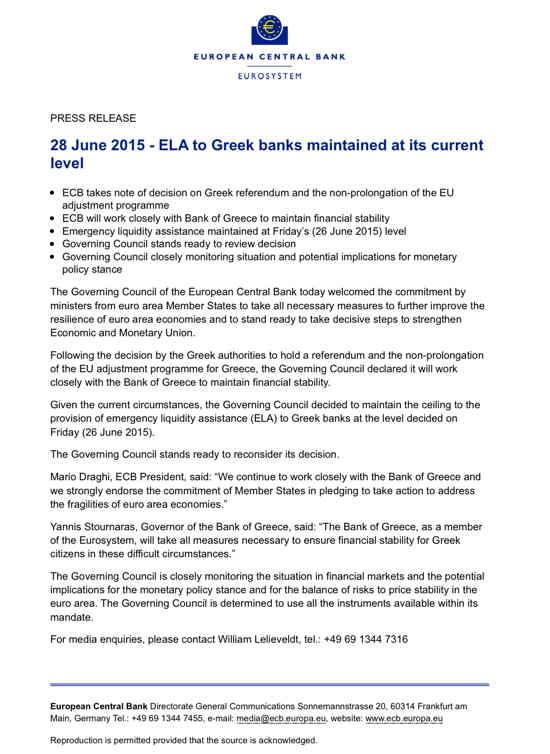 Déclaration de la BCE sur sa coopération avec la Grèce