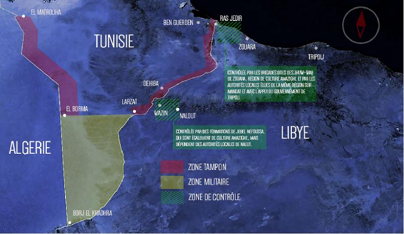 La frontière Tunisie-Libye (capture d'écran Inkyfada)