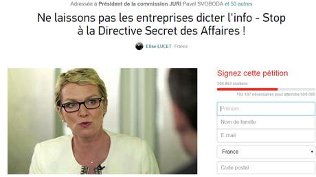 Capture d'écran de la pétition en ligne sur Change.org