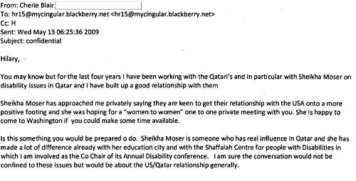 L'un des mails échangés entre Cherie Blair et Hillary Clinton