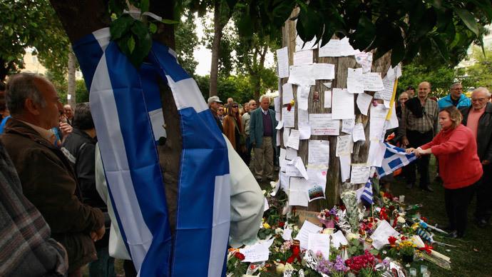 Un site du suicidé honoré par les habitants d'Athènes