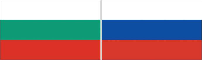Les drapeaux russe et bulgare