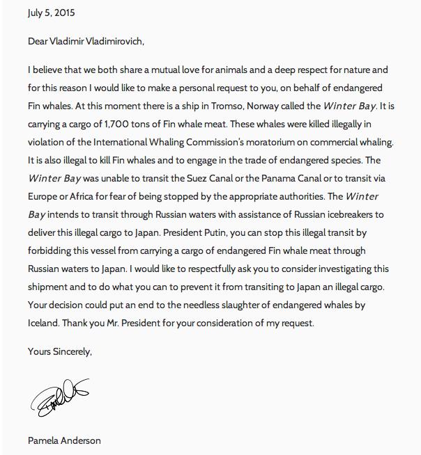 La lettre de Pamela Anderson à Vladimir Poutine