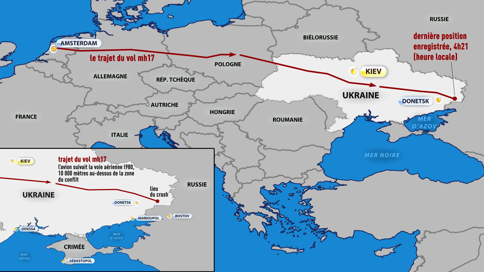 Le trajet du vol MH17