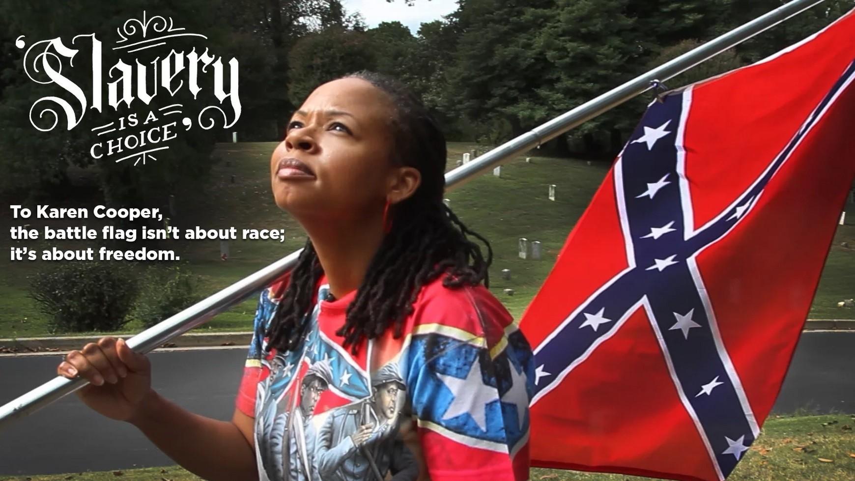 Une des défenseurs du drapeau confédéral Karen Copper