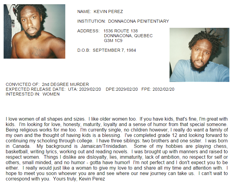 Capture d'écran d'un profil sur le site Canadian Inmates Connect Inc.