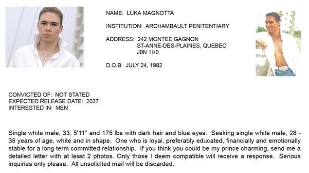 Ancien profil de Luka Magnotta sur le site de rencontre