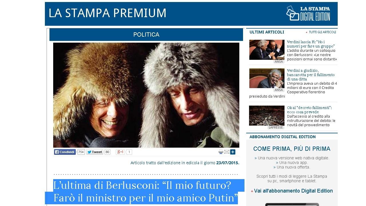 Berlusconi, nouveau ministre russe de l'Economie ? Le Kremlin dit non, grazie