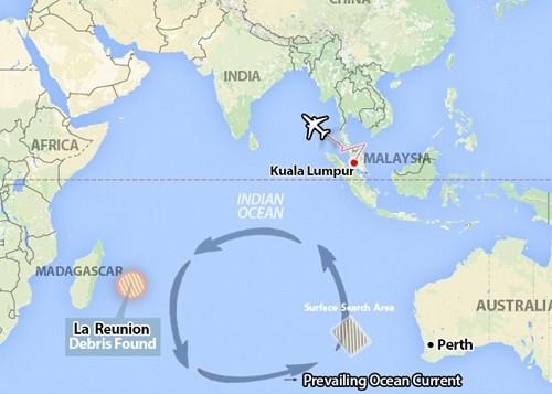 La zone de recherche du MH370 au large de l'Australie et les courants marins