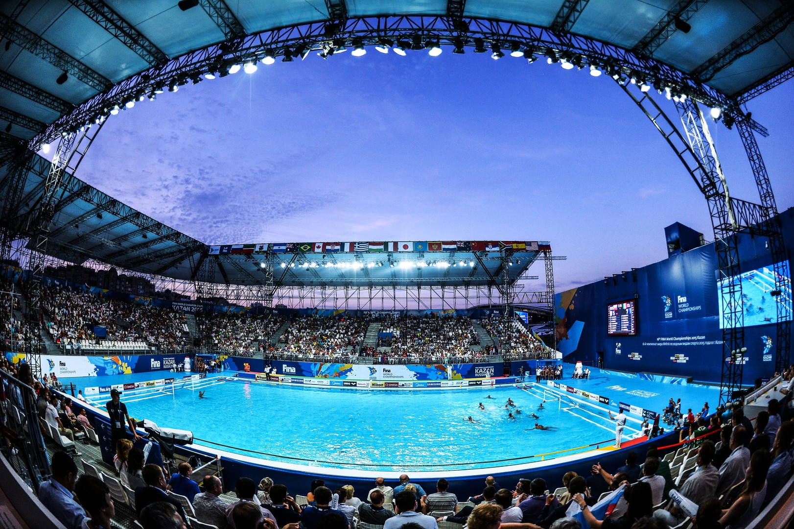 Vue d'ensemble de l'enceinte de water-polo