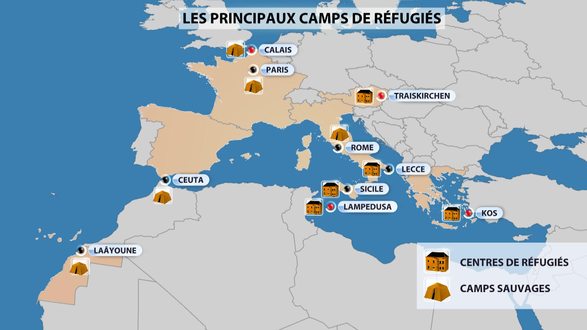 Les principaux centres de réfugiés en Europe