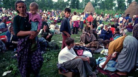 Des refugiés bosniens après la chute de Srebrenica