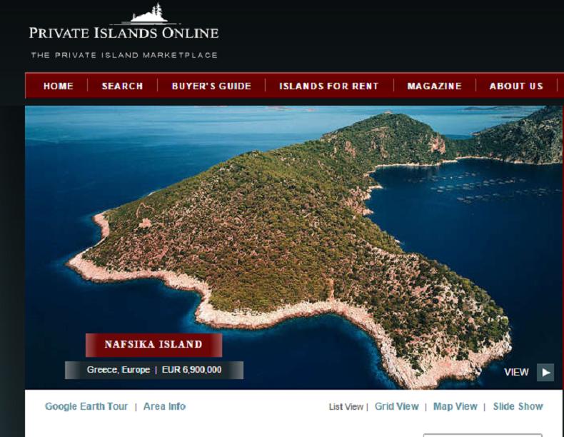 Nafsika Island, une des îles à vendre sur le site de Private Online Islands (capture)