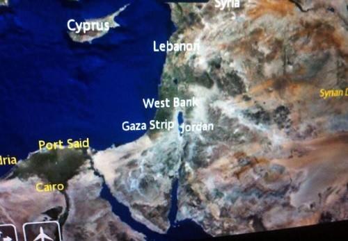 La carte du Proche-Orient, vue par Air France