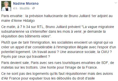 Le post Facebook de Nadine Morano dans lequel elle critique violemment la propositionnde Bruno Julliard.