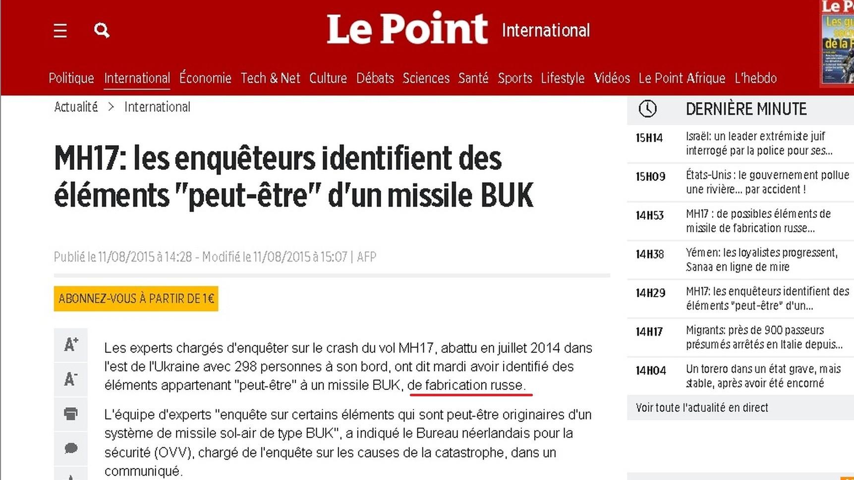 Capture d'écran du site Le Point