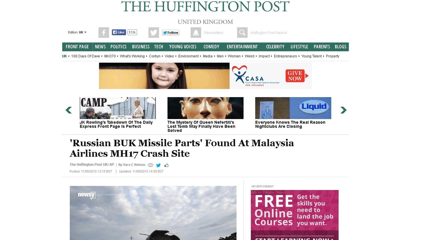 Capture d'écran du site Huffington Post