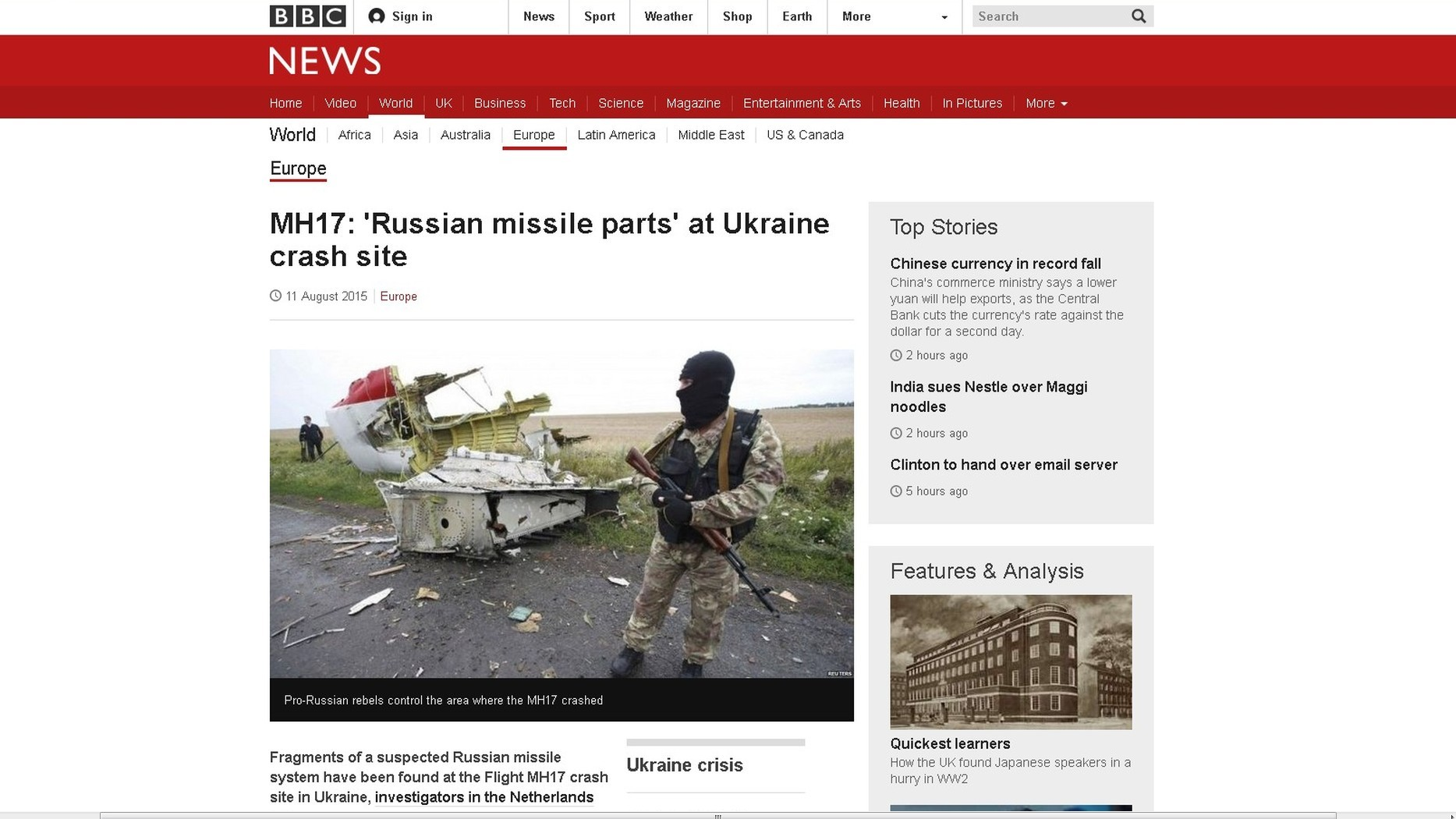 Capture d'écran su site BBC