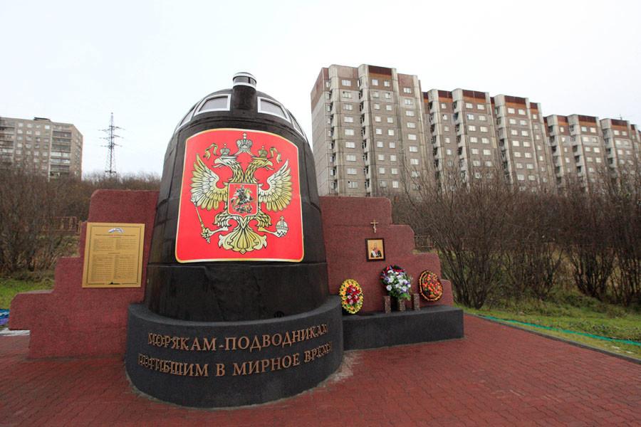 Le poste de pilotage du Koursk, intégré au monument dédié à la mémoire des sous-mariniers décédés en temps de paix