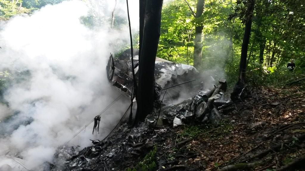 L'épave d'un des avions accidentés