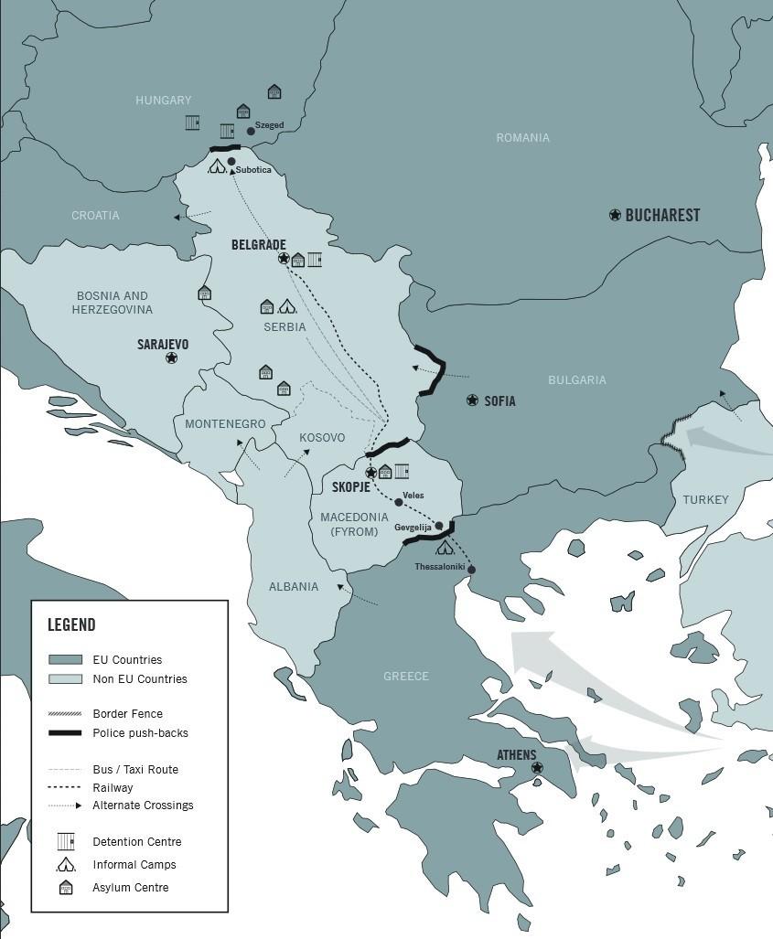 Gaz lacrymogènes et grenades assourdissantes contre les réfugiés en Macédoine