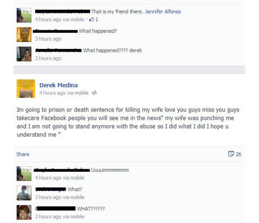 Derek Medina a avoué le meurtre de sa femme sur Facebook.