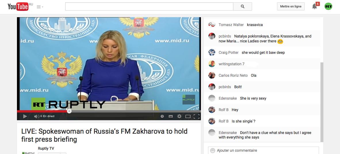 Capture d'écran de la page Youtube