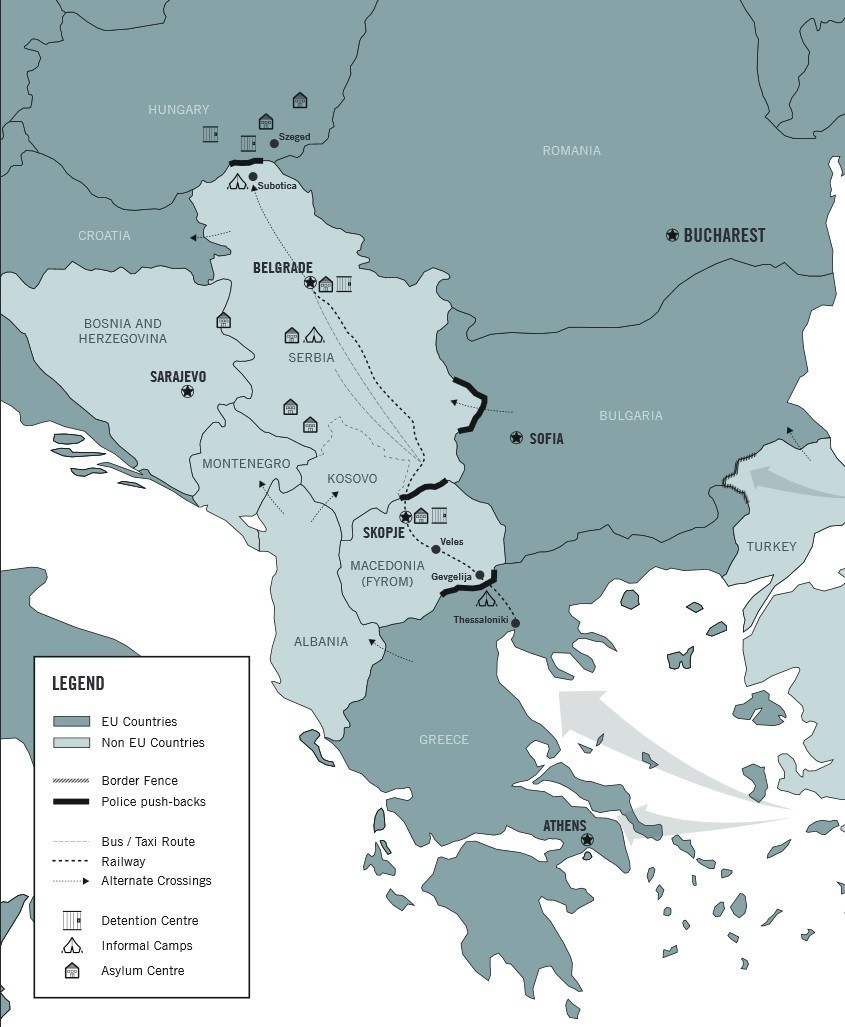Une carte de la route des Balkans