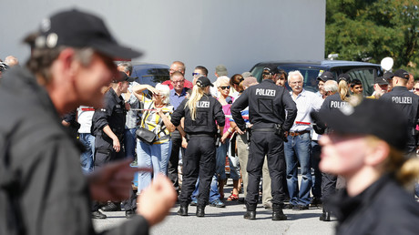 La police allemande à Heidenau