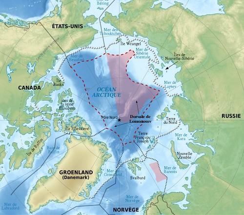 La zone en rose est celle que revendique la Russie auprès de l'ONU