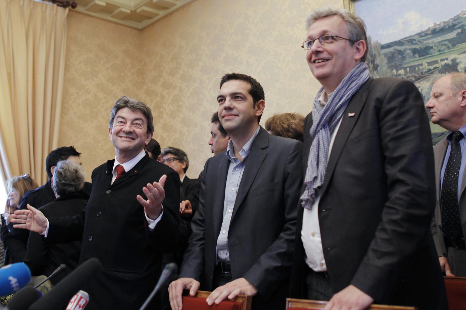 Un Syriza à la Française, sur le modèle du parti  d'Alexis Tsipras (au centre). Pas si simple vu les tensions entre Pierre Laurent et Jean-Luc Mélenchon.