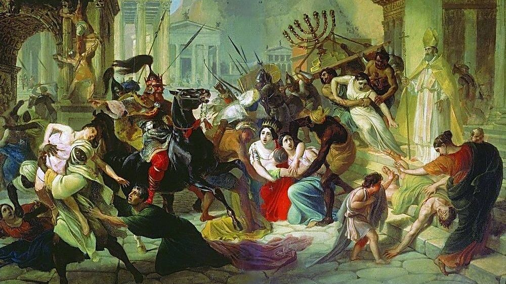 Le sac de Rome par Genséric en 455. Toile de Karl Briullov