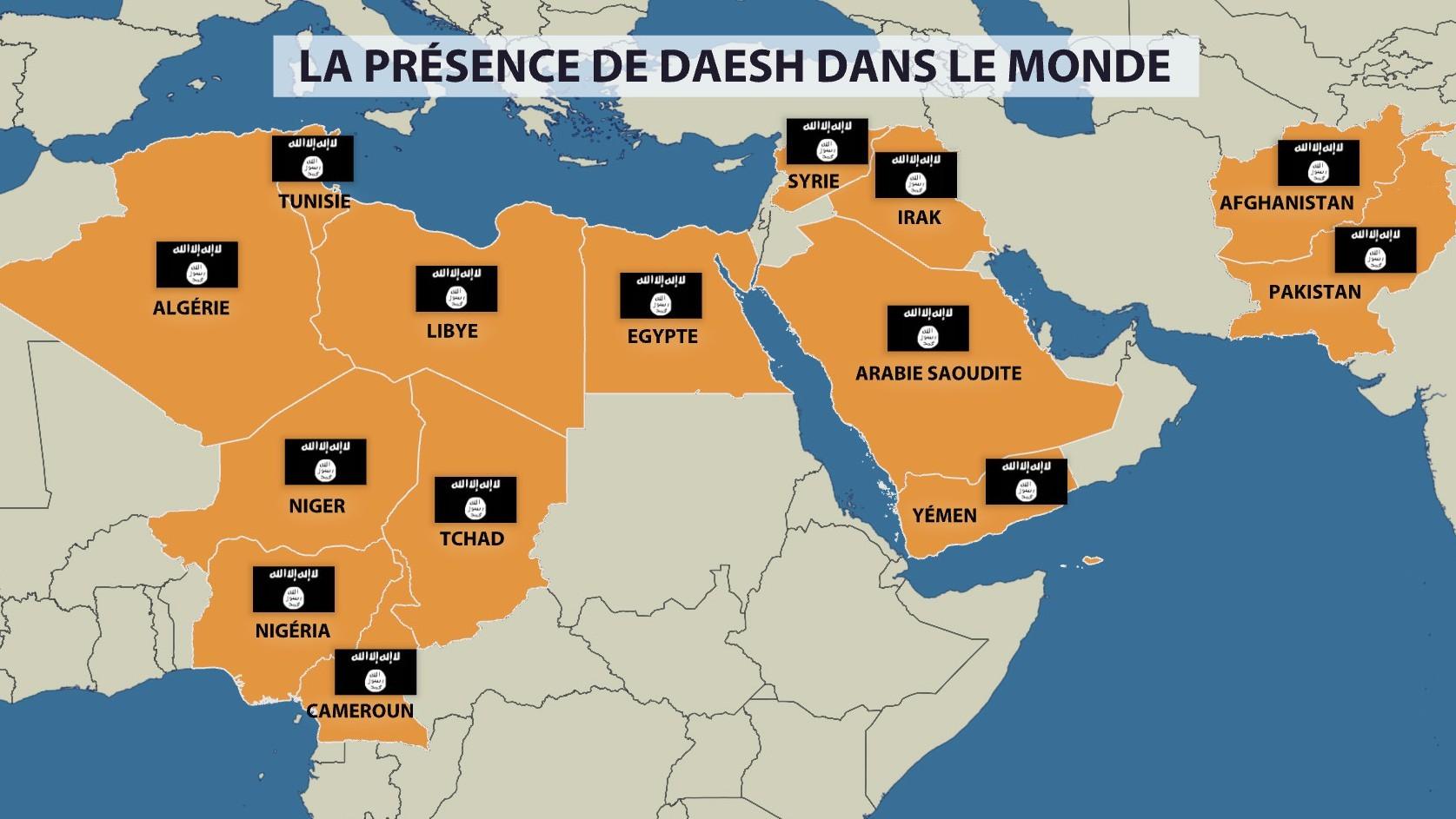 La carte de la présence de Daesh dans le monde