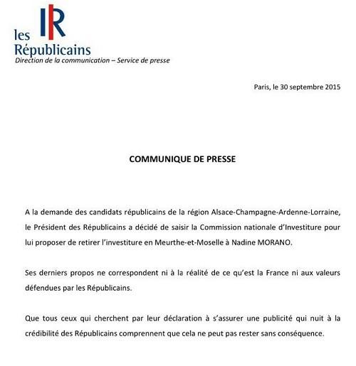 Affaire Morano : Sarkozy demande le retrait de son investiture pour les régionales