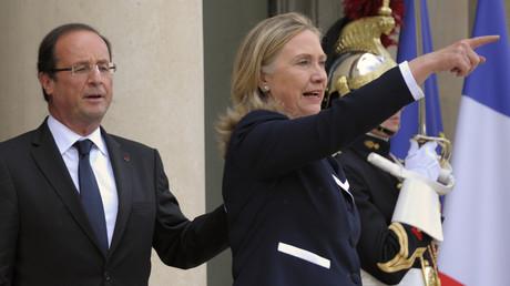Le président français François Hollande et la secrétaire d'Etat américain Hillary Clinton