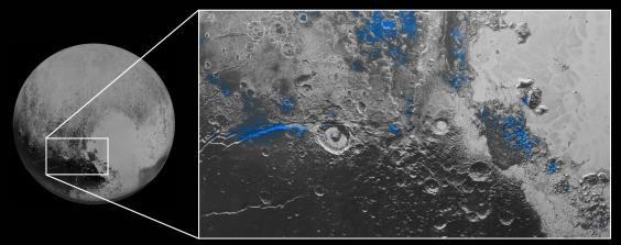 Des parcelles d'eau glacée sur Pluton