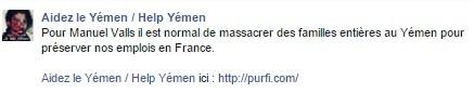 """Le message posté par """"Aider le Yémen"""""""