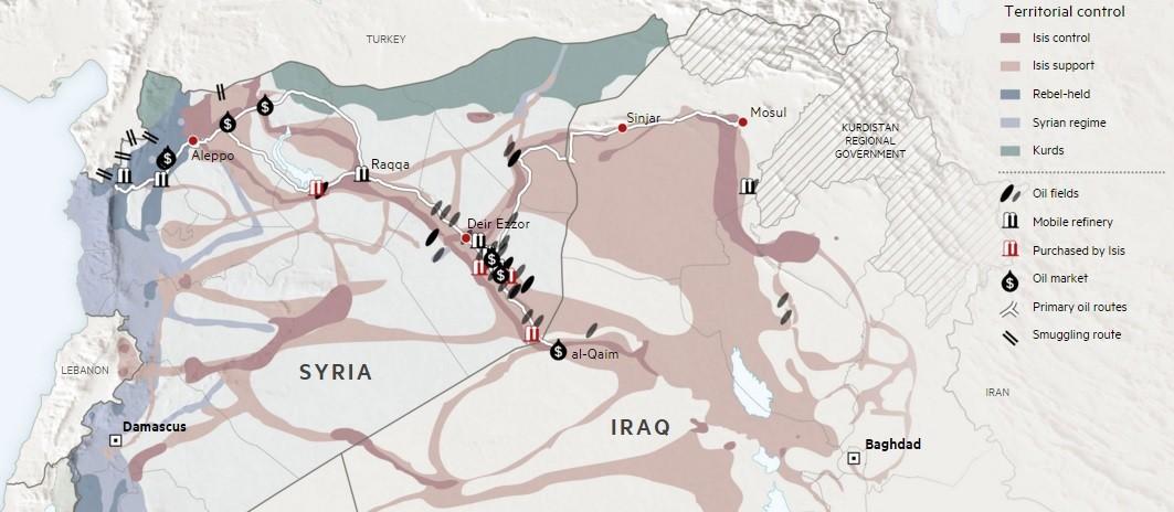 Champs pétroliers sous contrôle de Daesh