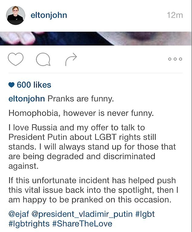 Poutine est «réellement adorable», assure le mari d'Elton John