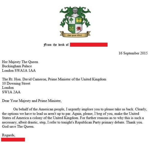 La lettre envoyée