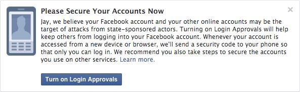 Le message envoyé par Facebook en cas de piratage.