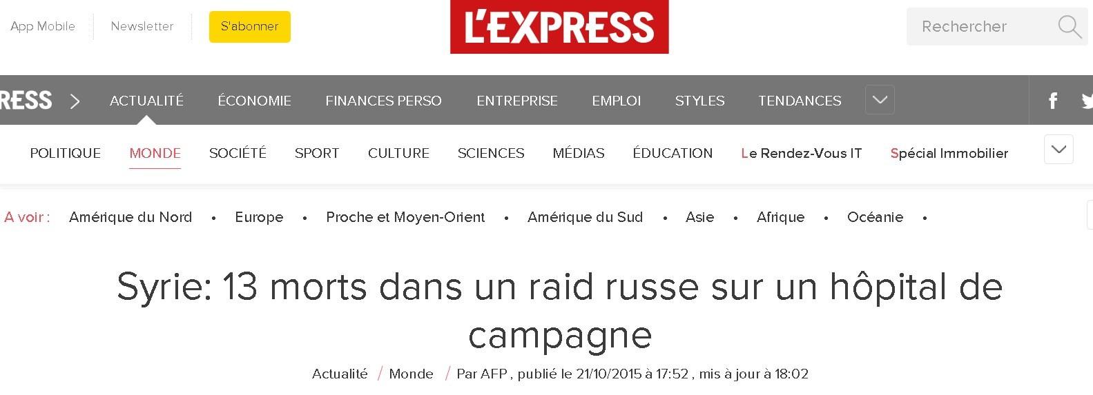 Capture d'écran du site L'Express