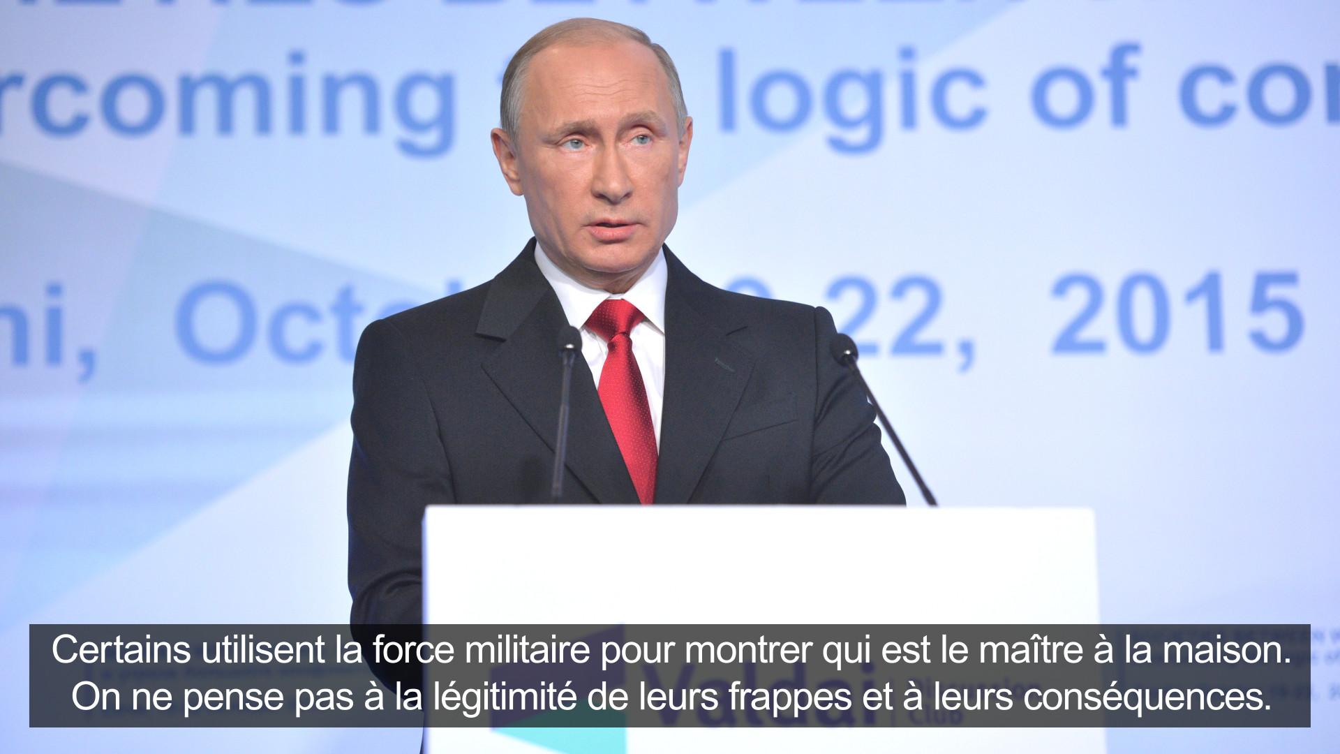 Cinq déclarations franches de Vladimir Poutine à Valdaï
