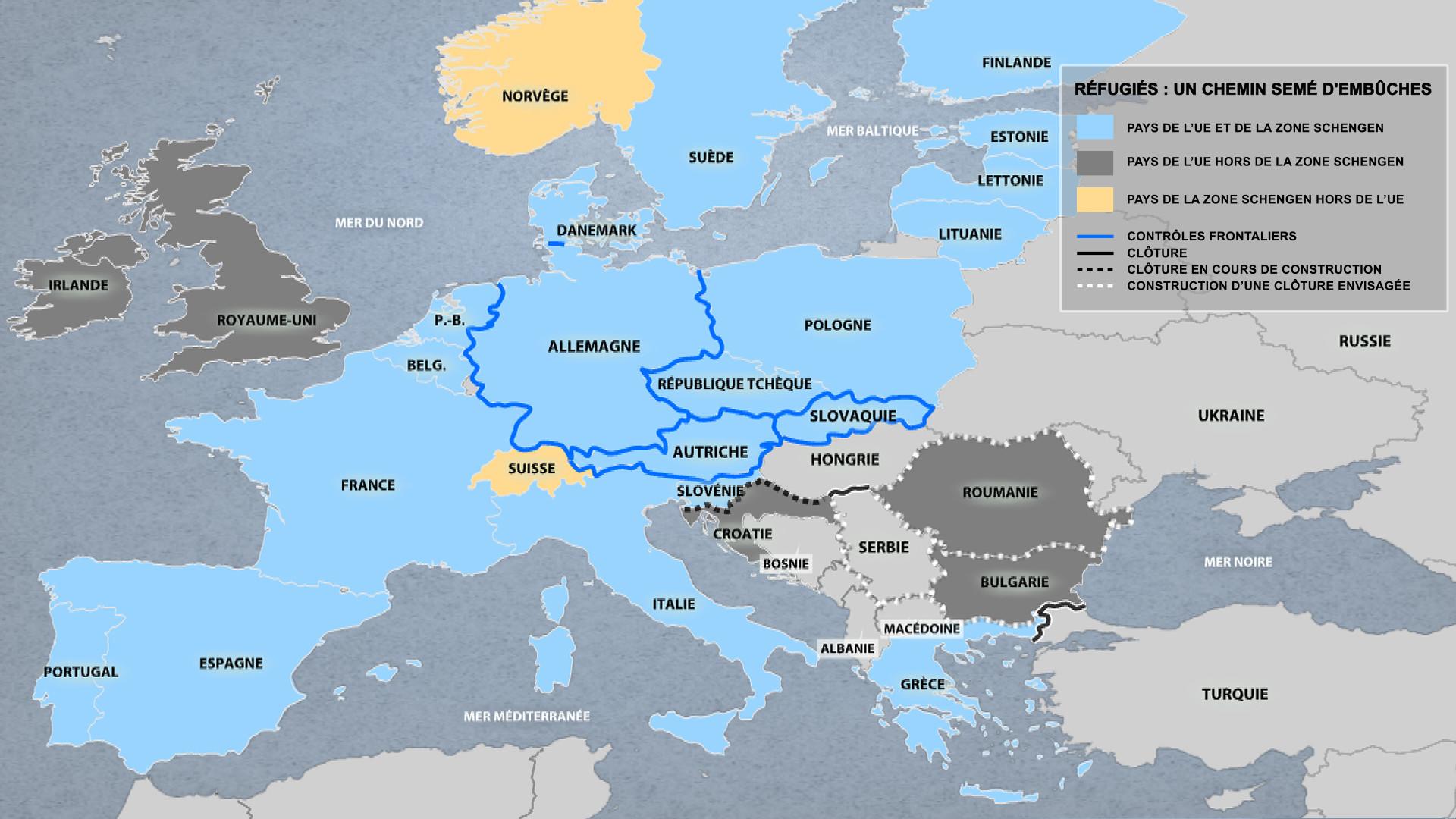 Crise migratoire : une carte montre comment l'Europe devient une forteresse anti-réfugiés