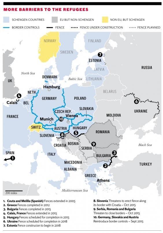 Les barrières à la circulation en Europe.