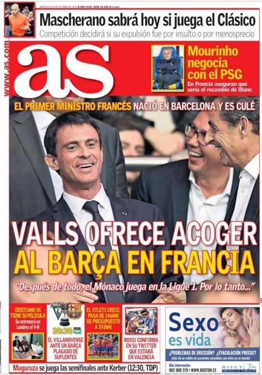 Football : Valls ne dirait pas non au Barça en Ligue 1 en cas d'indépendance de la Catalogne